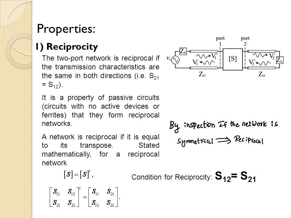 Properties: 1) Reciprocity