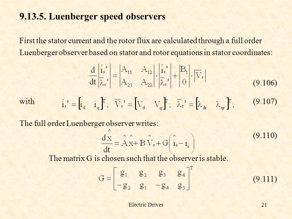Luenberger speed observers