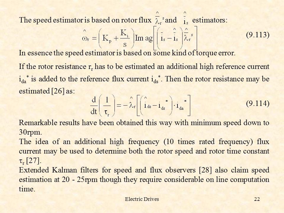The speed estimator is based on rotor flux and estimators: (9.113)