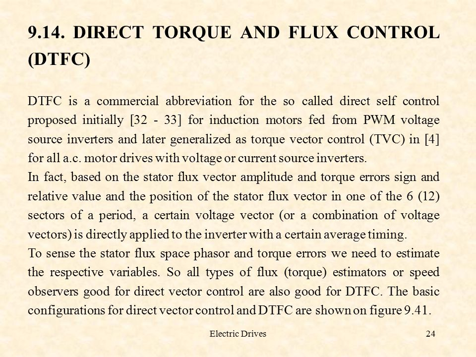 9.14. DIRECT TORQUE AND FLUX CONTROL (DTFC)