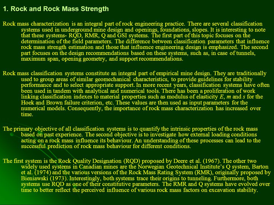 1. Rock and Rock Mass Strength
