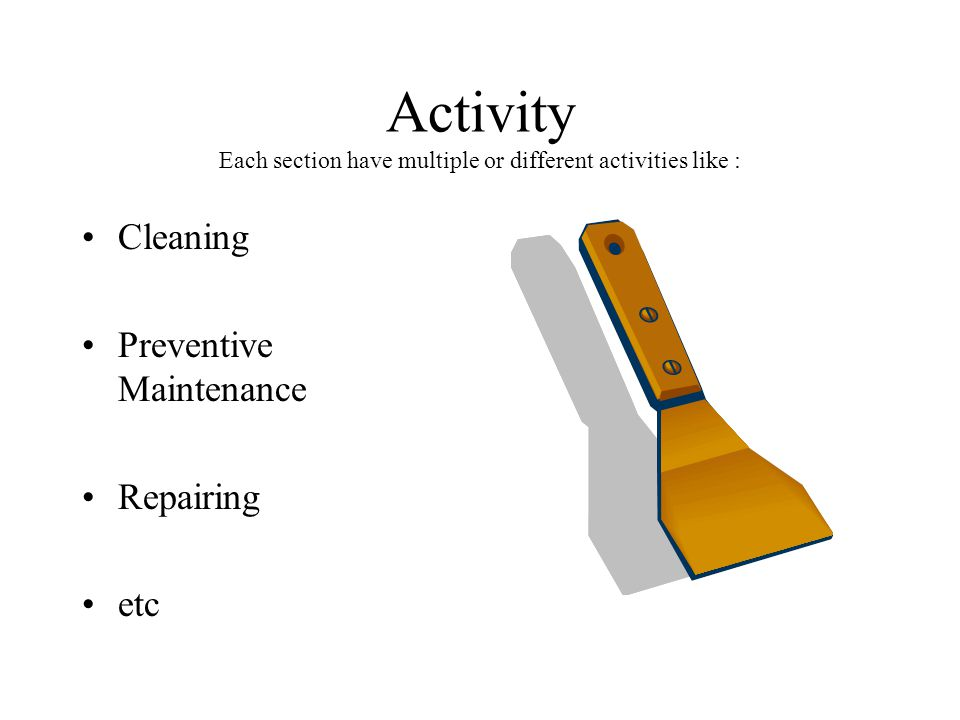 Activity Each section have multiple or different activities like :