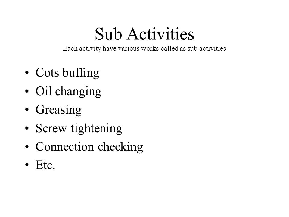 Sub Activities Each activity have various works called as sub activities