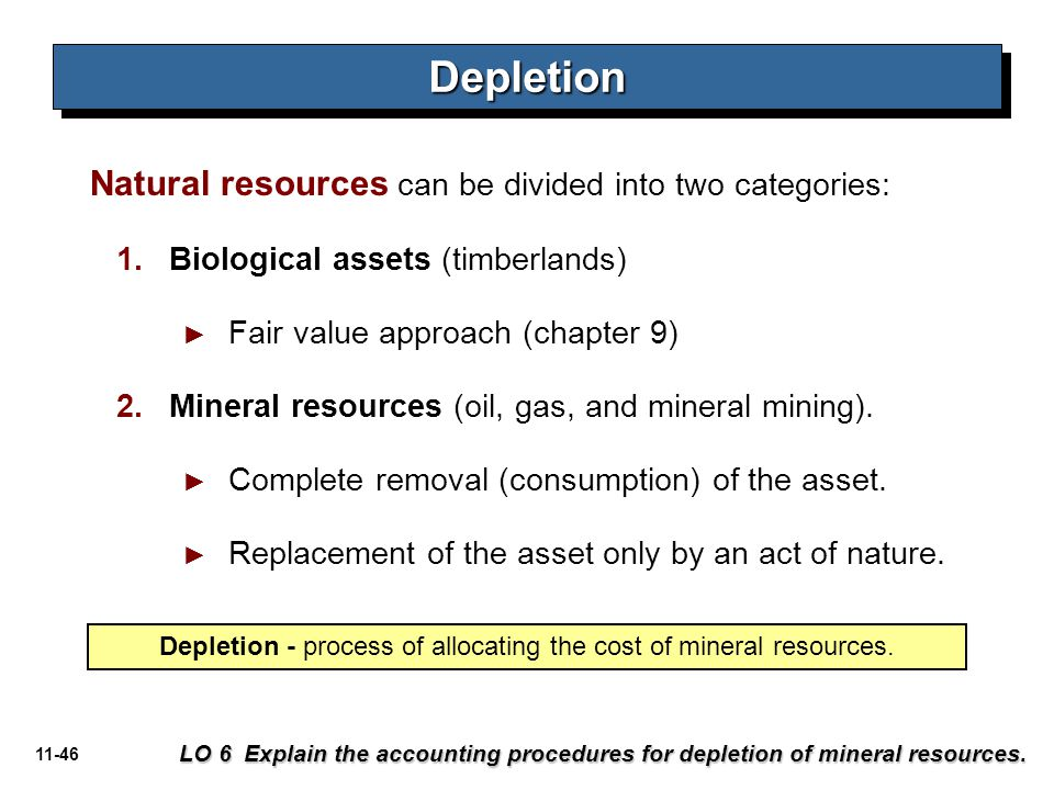 Depletion - process of allocating the cost of mineral resources.