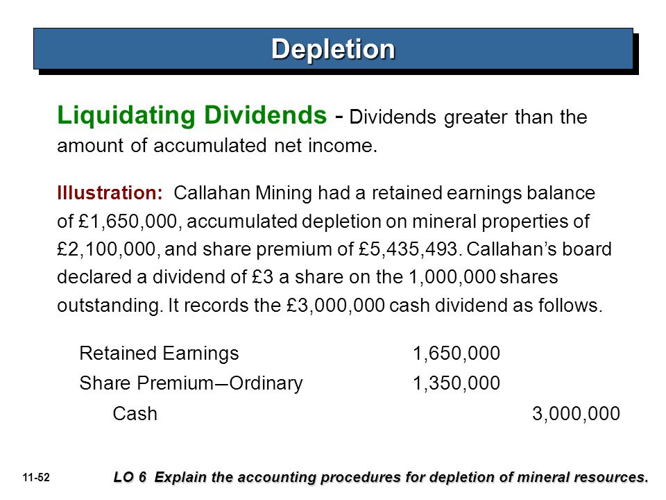 Depletion Liquidating Dividends - Dividends greater than the amount of accumulated net income.