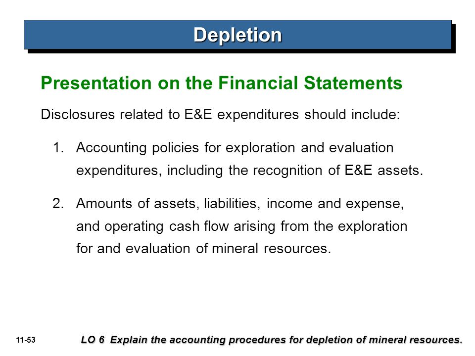 Depletion Presentation on the Financial Statements