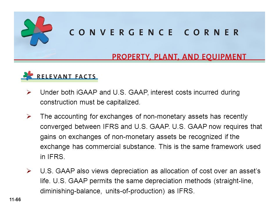 Under both iGAAP and U.S. GAAP, interest costs incurred during construction must be capitalized.