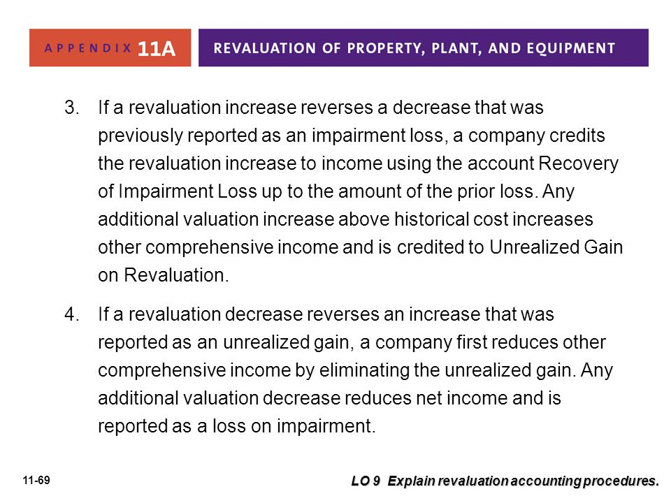 If a revaluation increase reverses a decrease that was previously reported as an impairment loss, a company credits the revaluation increase to income using the account Recovery of Impairment Loss up to the amount of the prior loss. Any additional valuation increase above historical cost increases other comprehensive income and is credited to Unrealized Gain on Revaluation.