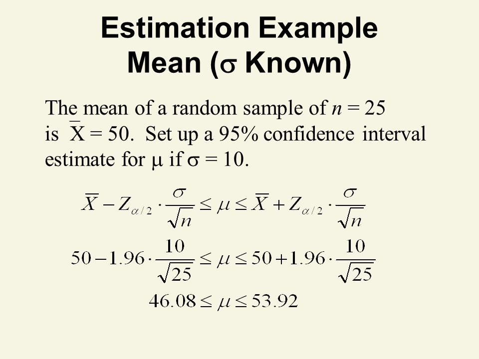 Estimation Example Mean ( Known)