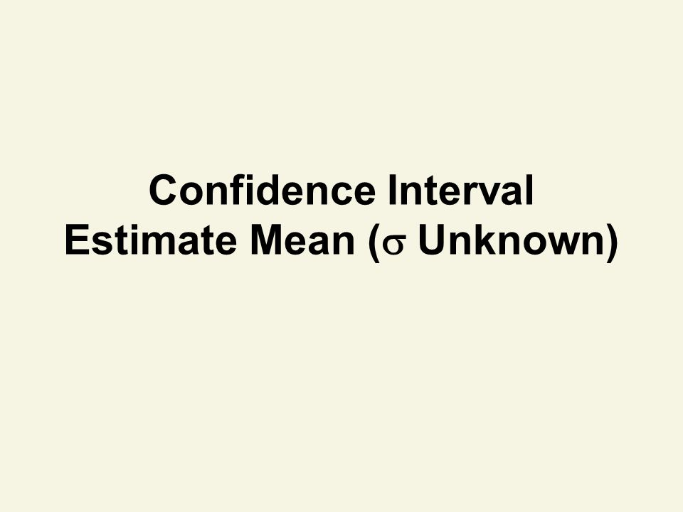 Confidence Interval Estimate Mean ( Unknown)