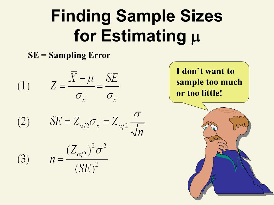 Finding Sample Sizes for Estimating 