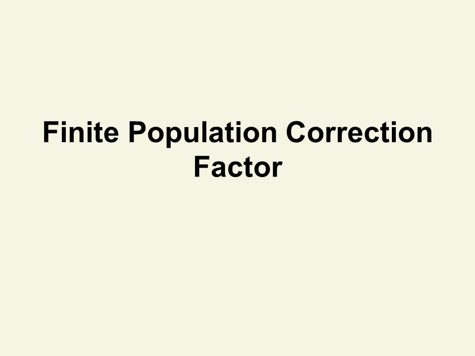 Finite Population Correction Factor