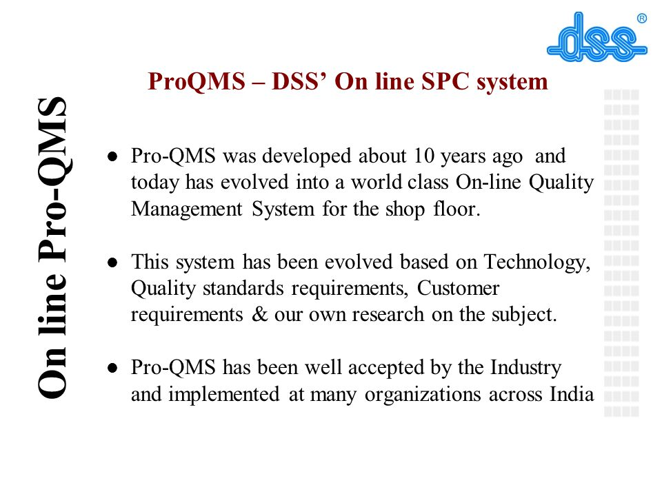 ProQMS – DSS' On line SPC system
