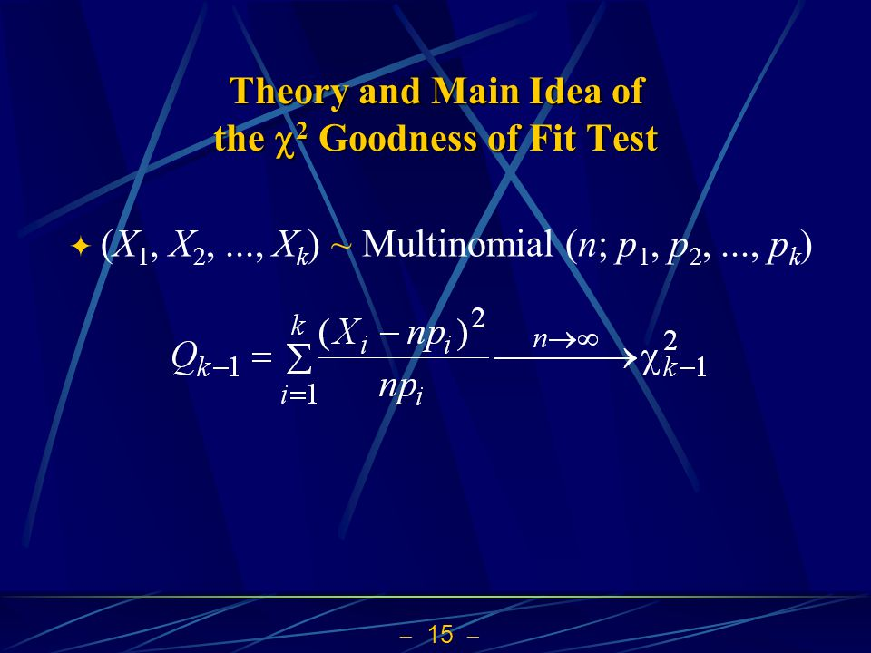 Theory and Main Idea of the 2 Goodness of Fit Test