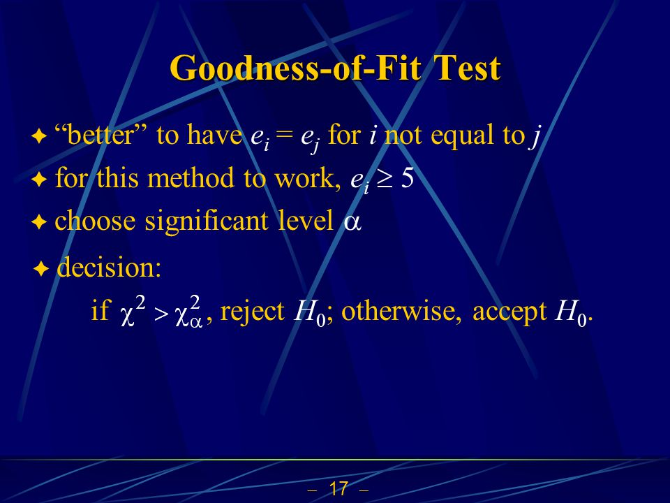 Goodness-of-Fit Test better to have ei = ej for i not equal to j