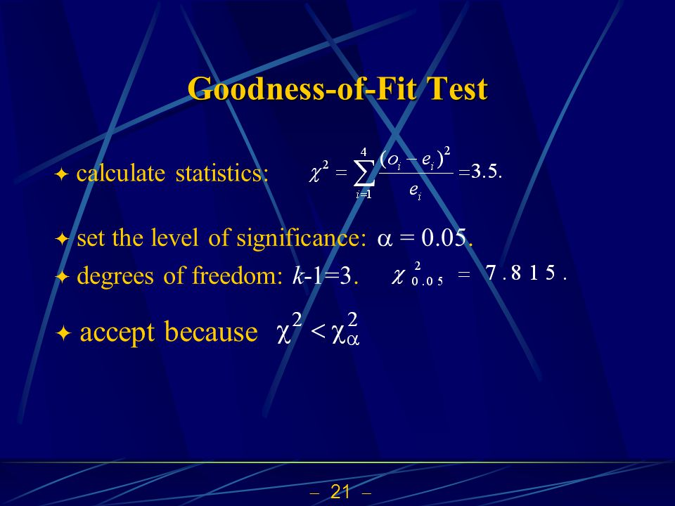Goodness-of-Fit Test accept because calculate statistics: