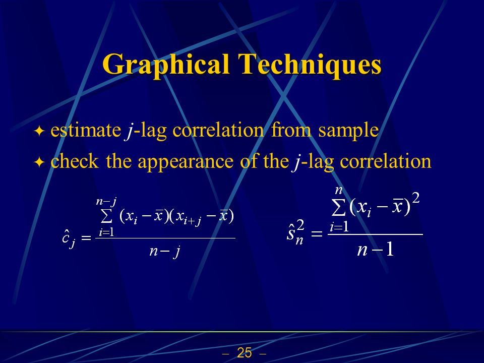 Graphical Techniques estimate j-lag correlation from sample