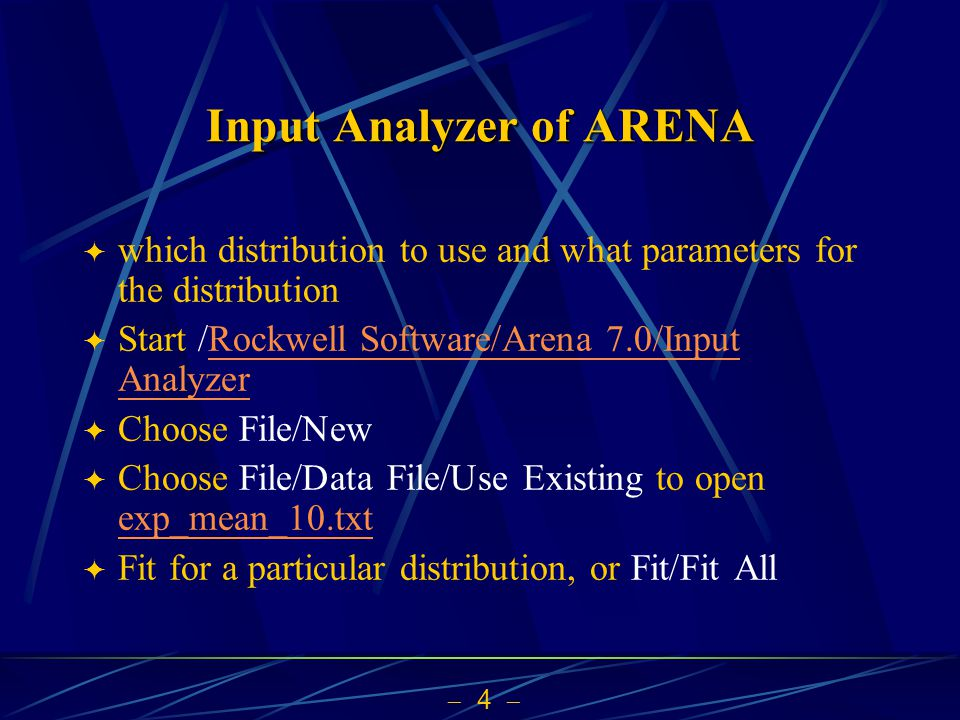 Input Analyzer of ARENA