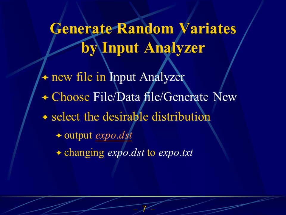 Generate Random Variates by Input Analyzer