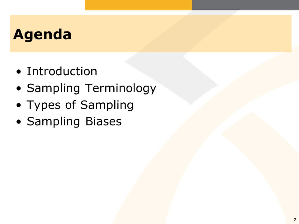 Agenda Introduction Sampling Terminology Types of Sampling