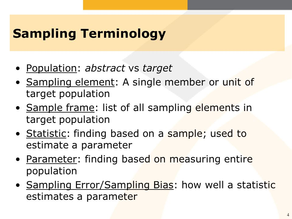 Sampling Terminology Population: abstract vs target