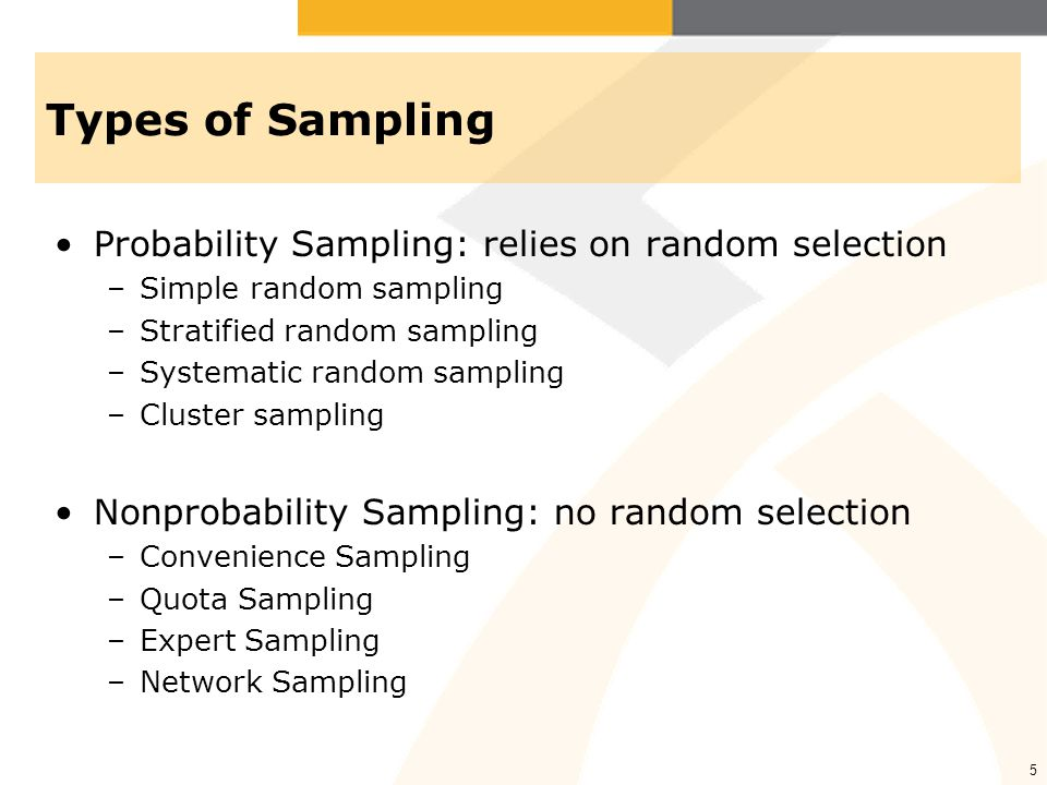 Types of Sampling Probability Sampling: relies on random selection