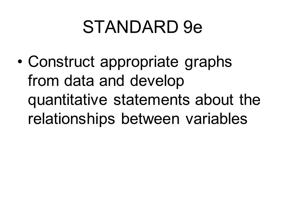 STANDARD 9e Construct appropriate graphs from data and develop quantitative statements about the relationships between variables.