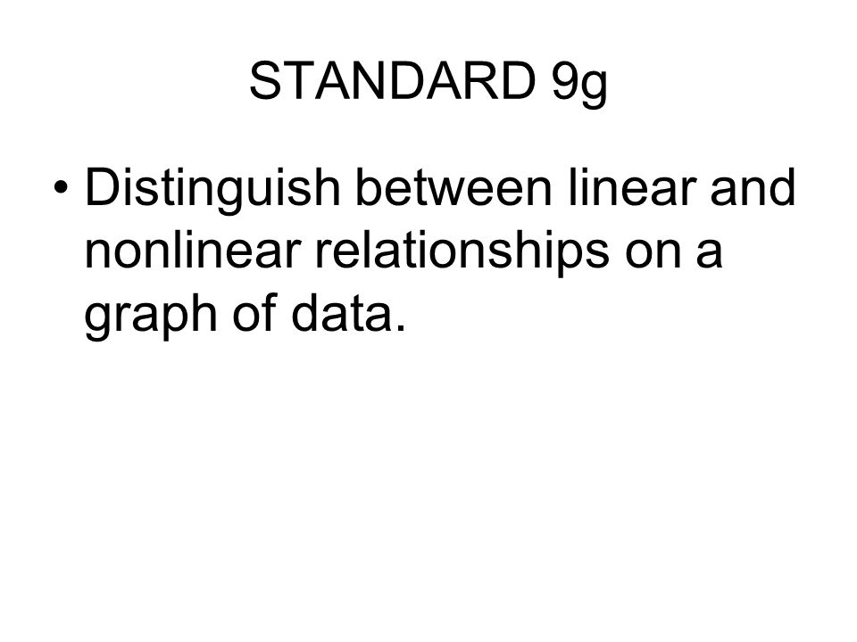 STANDARD 9g Distinguish between linear and nonlinear relationships on a graph of data.