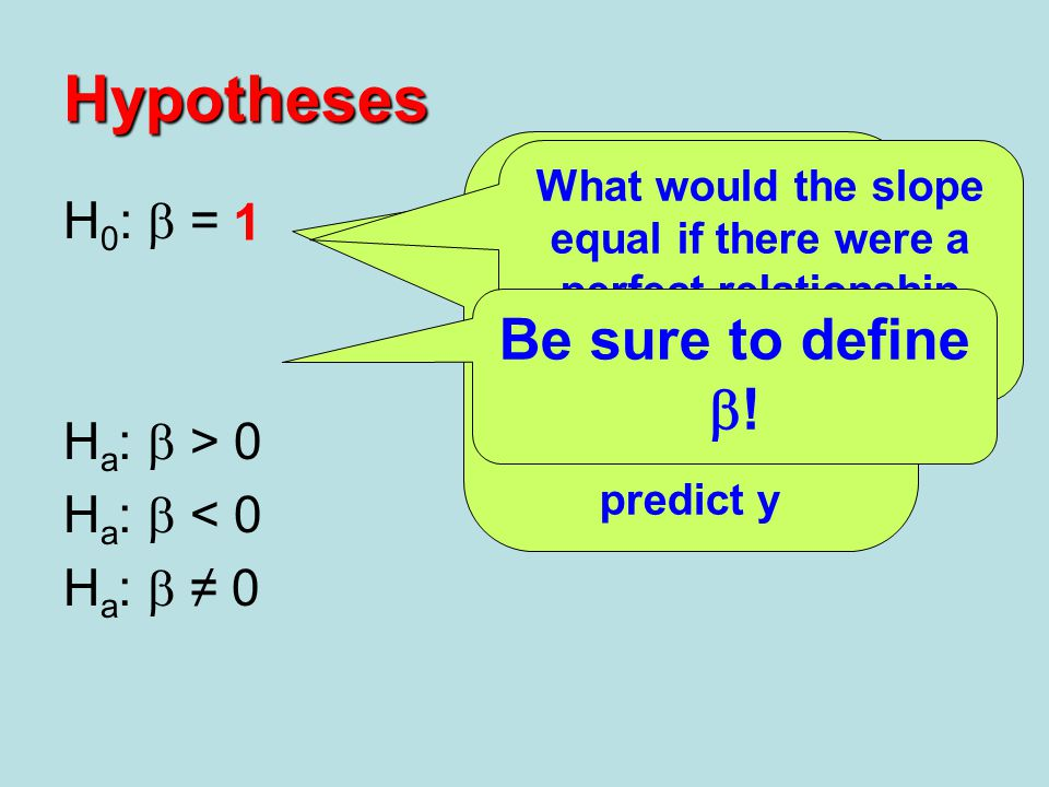 Hypotheses Be sure to define b! H0: b = 0 1 Ha: b > 0 Ha: b < 0
