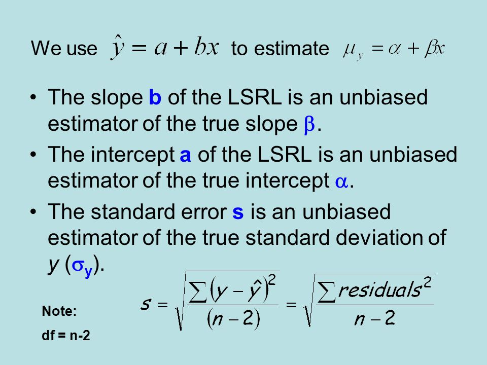 The slope b of the LSRL is an unbiased estimator of the true slope b.