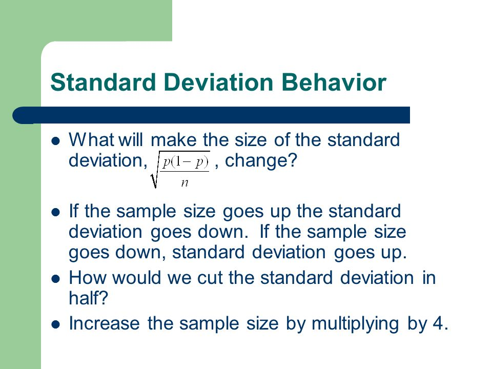 Standard Deviation Behavior