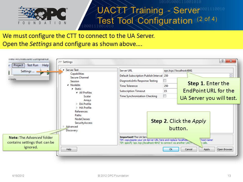UACTT Training - Server Test Tool Configuration (2 of 4)