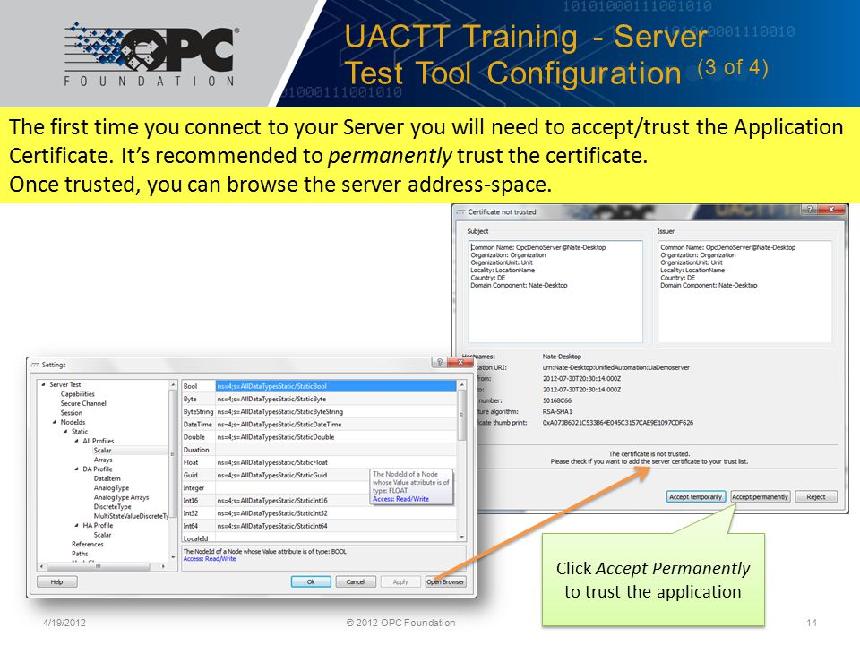 UACTT Training - Server Test Tool Configuration (3 of 4)