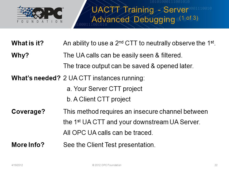 UACTT Training - Server Advanced Debugging (1 of 3)
