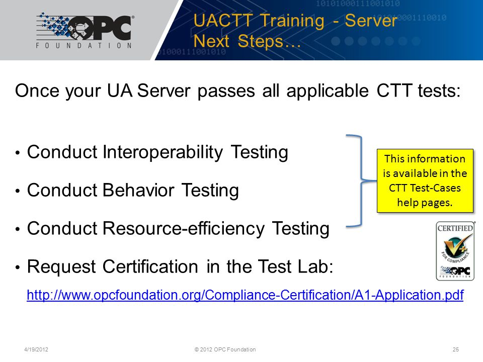 UACTT Training - Server Next Steps…