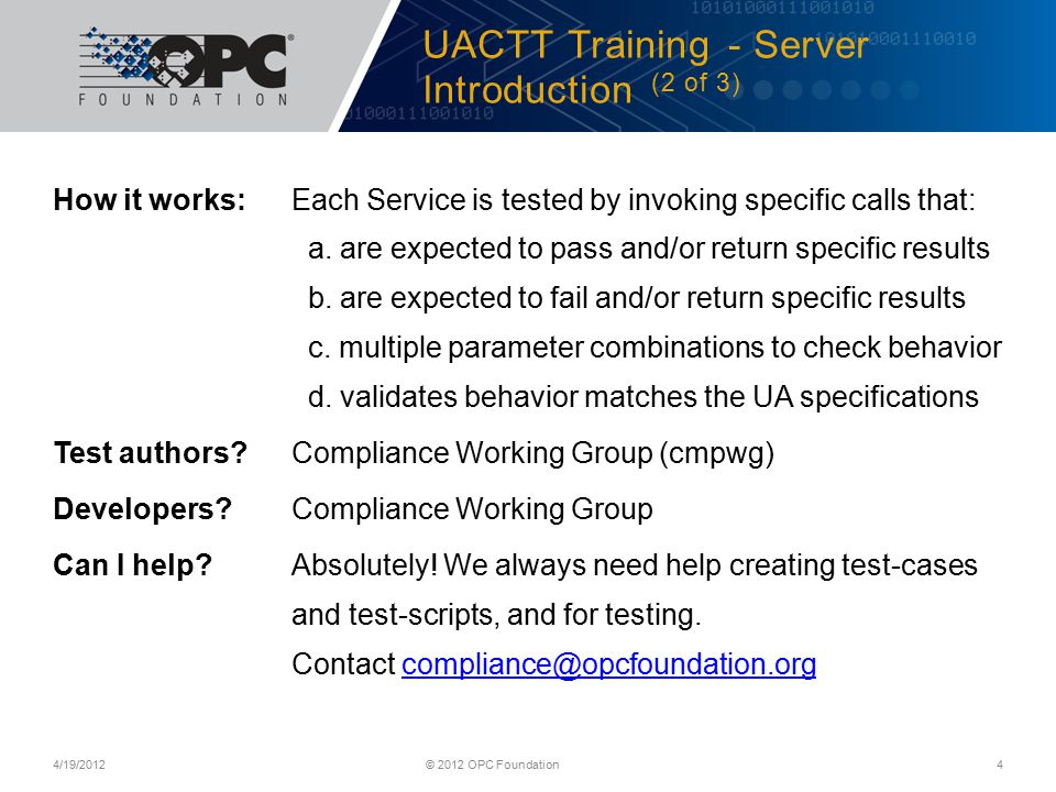 UACTT Training - Server Introduction (2 of 3)