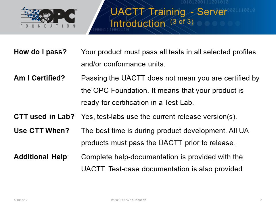 UACTT Training - Server Introduction (3 of 3)