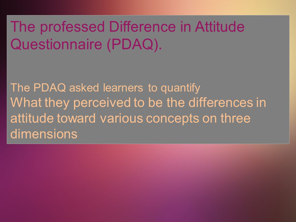 The professed Difference in Attitude Questionnaire (PDAQ).