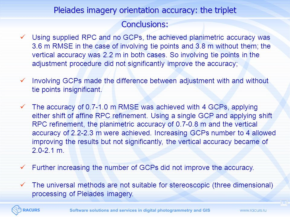 Pleiades imagery orientation accuracy: the triplet