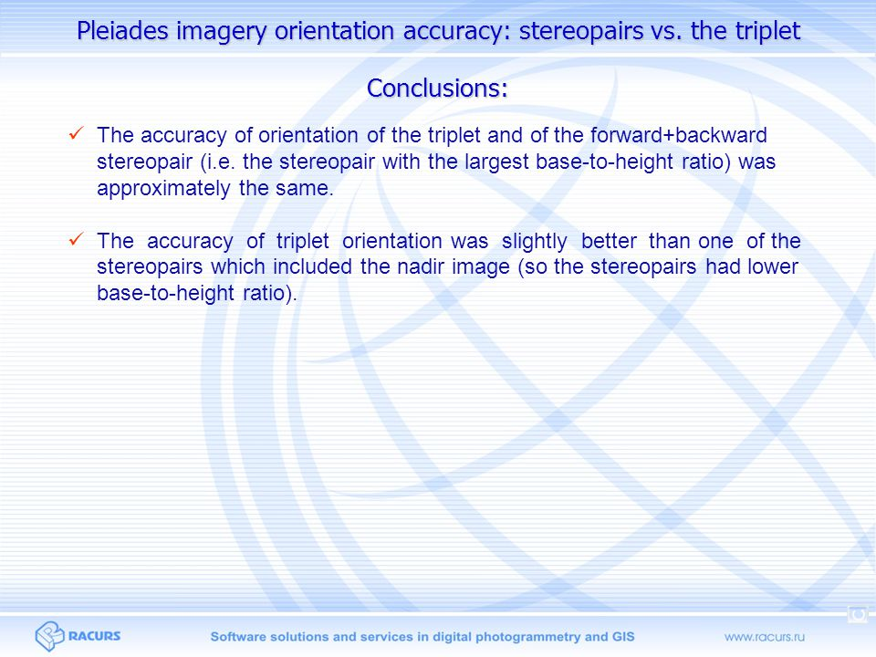 Pleiades imagery orientation accuracy: stereopairs vs. the triplet