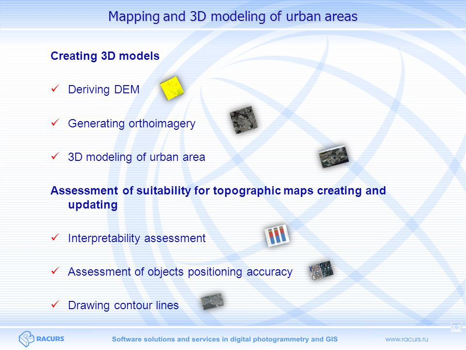 Mapping and 3D modeling of urban areas