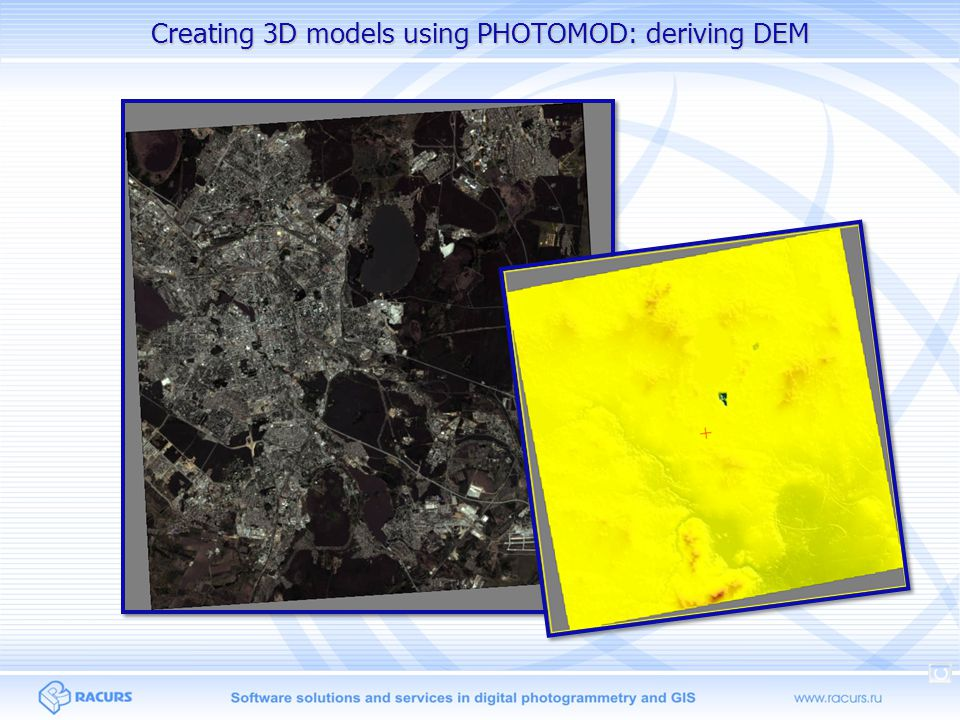 Creating 3D models using PHOTOMOD: deriving DEM