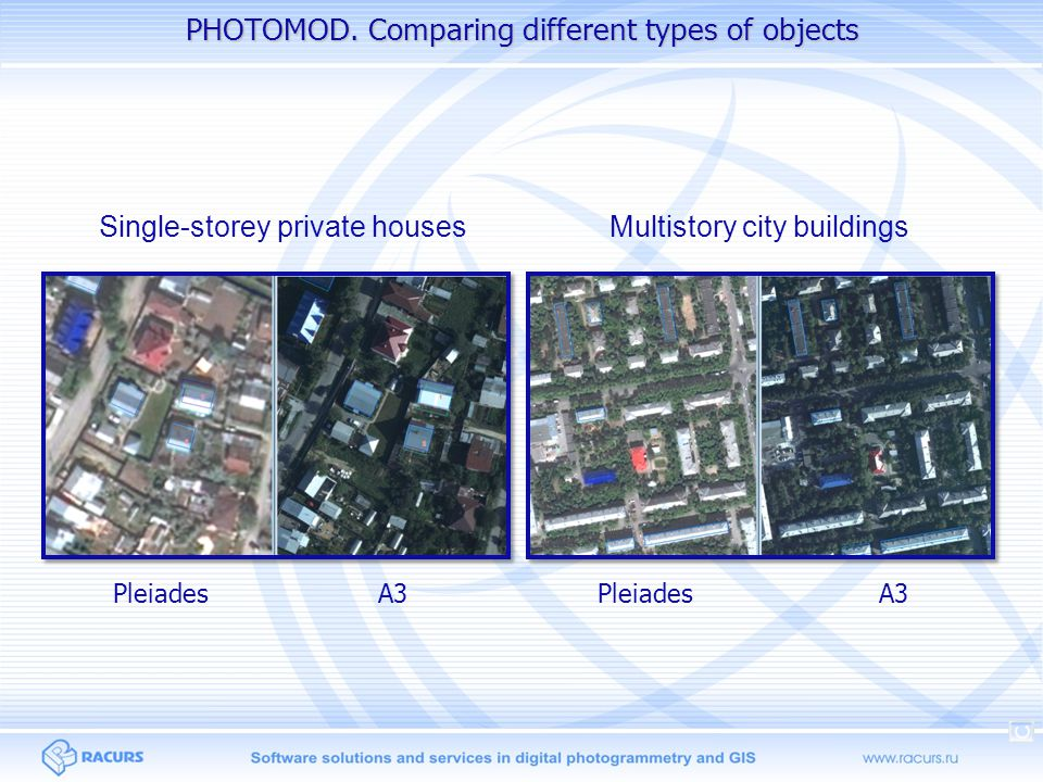 PHOTOMOD. Comparing different types of objects