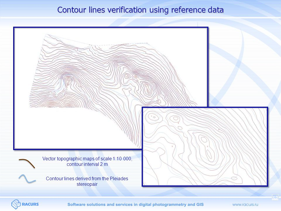 Contour lines verification using reference data