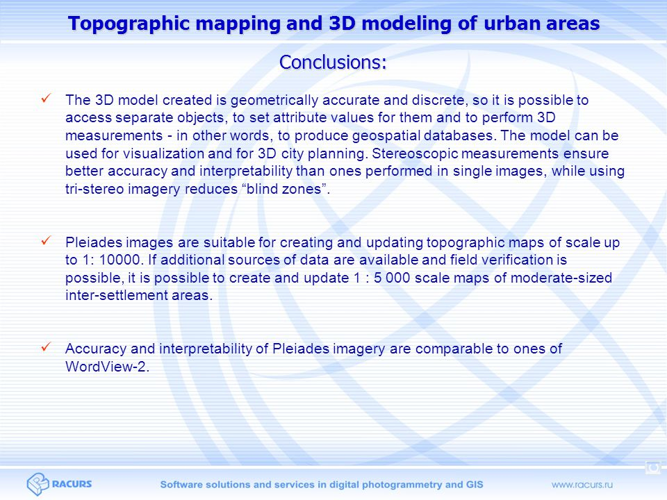 Topographic mapping and 3D modeling of urban areas