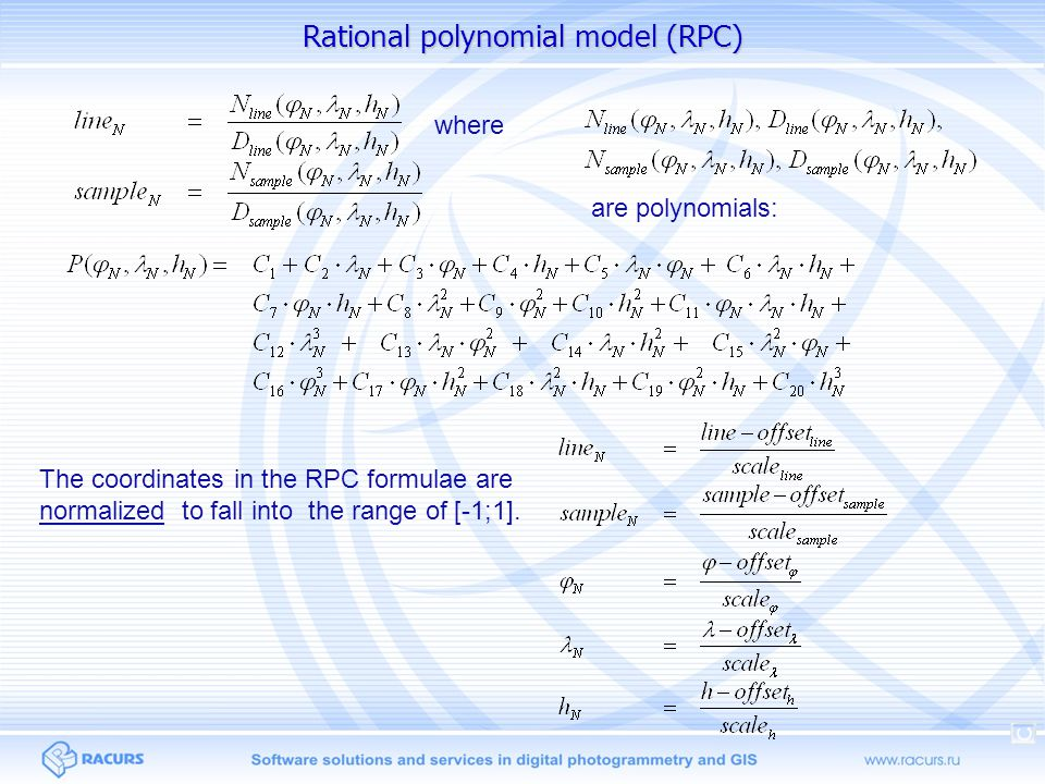 Rational polynomial model (RPC)