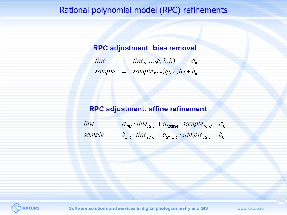 Rational polynomial model (RPC) refinements