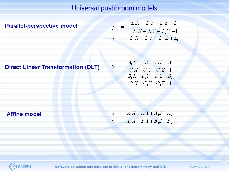 Universal pushbroom models