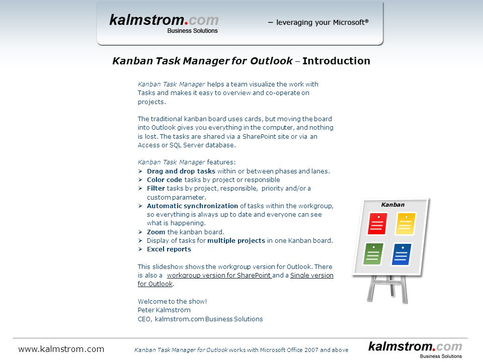 Kanban Task Manager for Outlook ‒ Introduction