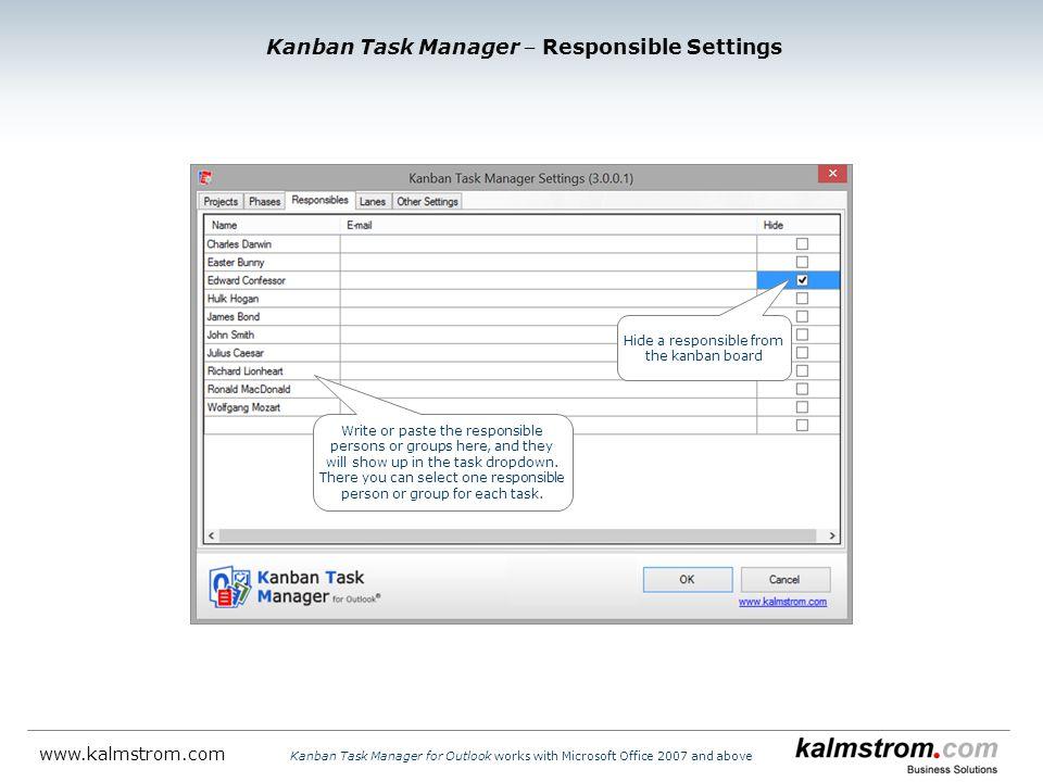 Kanban Task Manager ‒ Responsible Settings